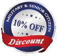Military & Senior Citizen Discount - 10% OFF
